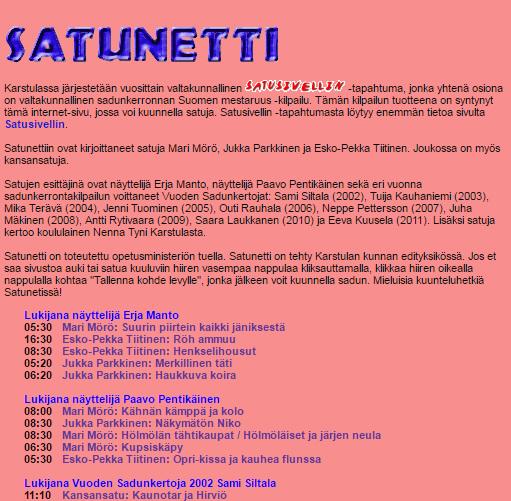 Tarinalaari : Kuvakaappaus sivustosta satunetti.fi